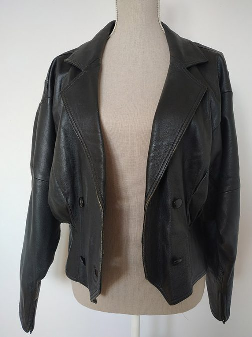 Open leather jacket - front